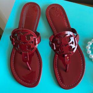 Tory Burch patent Miller sandals Dark Redstone